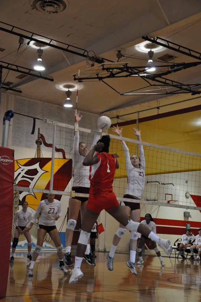 The varsity girls volleyball team were victorious against Dominguez High School on Oct. 12, Breana Alcantara, and her team mate Makayla Taylor, jumped to hit the ball for another winning score. The total of the three scores of 25-3, 25-4, and 25-13.