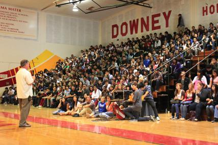The class of 2011 listens as Mr. Houts addresses them at the senior assembly, which was held Friday the eighth in the gym about issues with future senior activities such as Grad Night. At the moment , it is unsure as to where Grad Night will be held so students have been asked to come forward with suggestions.