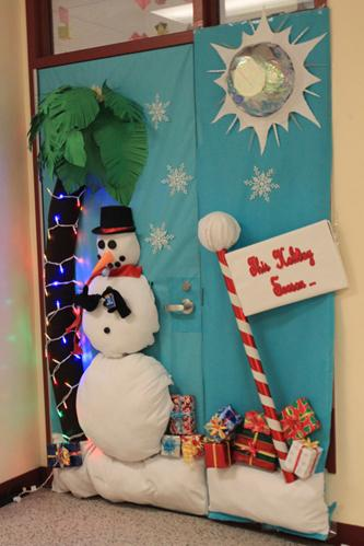 Barbeau takes first place in door decorating the downey for 3d snowman door decoration