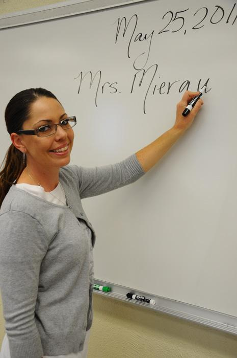 Mrs. Mierau plays her part in the English department