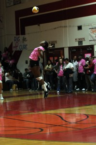 Girls volleys for a cure
