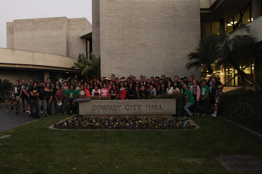 On September 25, 2012, the Downey KIWIN'S and concerned cyclists come out to Downey City Hall, for the Bike Rally, in order to obtain bike lanes in the city. The conclusion of the council meeting was to have another meeting to discuss how this will get accomplished.