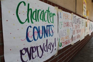 """Throughout the week of Oct. 15 to Oct. 19, Downey High School's ASB encourages students to display qualities of the six pillars of character, during Character Counts week, by plastering posters around campus.  """"It was hard to spread this around the student body, but even if it gets to one persons, it's enough,"""" Jenifer Sicardi, 12, said."""