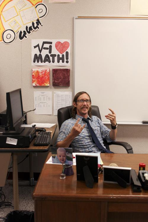 As he shares his love for music, math teacher Mr. Bradfield discusses his musical influences, such as Rush and Jimi Hendrix, on Friday, September 21. The Algebra II and Geometry teacher also plays the piano, and guitar, and sings.