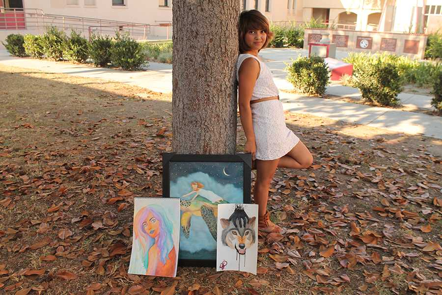 "During her free time, Amber Gonzalez, 12, paints vivid, realistic pictures at places like the park. ""It calms me down,"" Gonzalez said, ""It's a way for me to relax and express my feelings."""