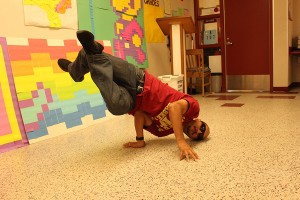 """On October 2, Mr. De La Torre broke out dancing in room B-107, to express his love for break dancing, even though he is primarily known for teaching Honors Geometry on campus. """"I've liked dancing since I was a little kid, but I never really performed till now,"""" De La Torre said."""