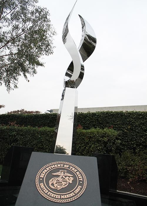 In November, in front of Downey City Hall, a new statue is resurrected as a veteran's memorial. On every corner around the statue there is a plaque of each department of the military to represent the Navy, Marines, Army, and Air Force.