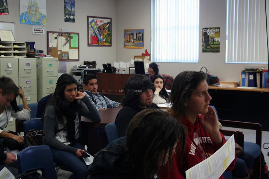 As students trickle both in and out of the College and Career Center on Feb. 21, they listen and ask questions regarding admission and enrollment to Cal State Long Beach. Admitted students attended the meeting as they finished with their after school activities.