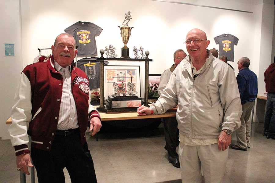 "On February 21, Fred Gallagher and Harley Windmark former CIF champions from 1957 reunite at the Stay Gallery in Downey. ""We only weighed one hundred and fifty pounds when we played football,"" Gallagher said. ""Now the boys weigh more then two-hundred pounds."""