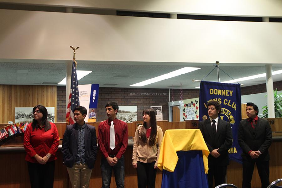 Participants from Downey and Warren High wait for the winner to be announced at the Third Annual Downey Lion's Club Speaker's Contest.