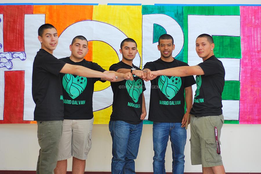 To support Relay for Life, and raise money for senior Mario Galvan, 12, Joey Romero, 12, Mario Andres Galvan, 11, Edwyn Arroyo, 12, Eddie Guerrero, 12, and Michael Rivas, 12, shave their heads in March. They also sold t-shirts to support Galvan's older brother who was diagnosed with cancer late last year.