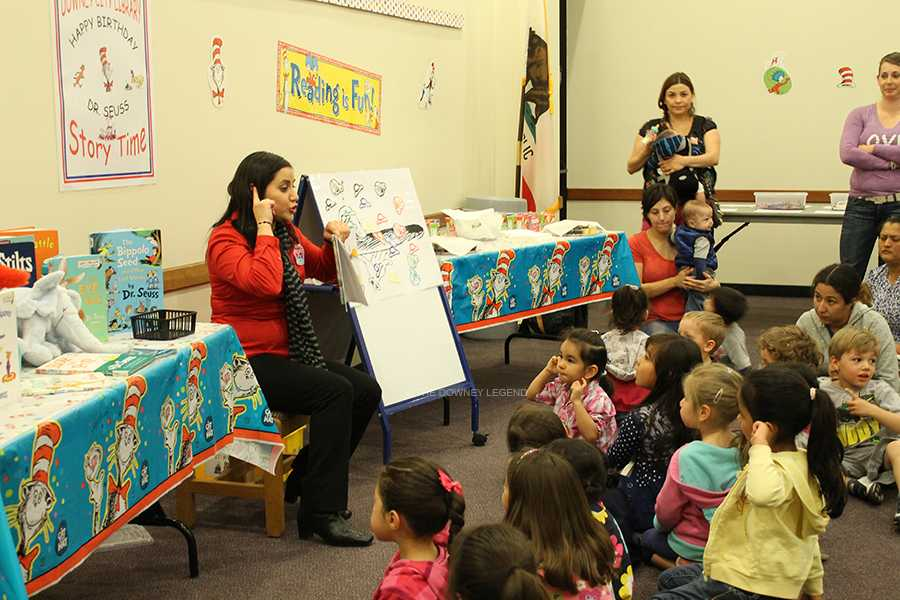 During the city library's story time, on February 27, library employee, Angie Macias, read Dr. Seuss books to the children, in honor of his literary contributions.  The library hosted two days, one in Spanish and the other in English, available for children to listen to the stories.