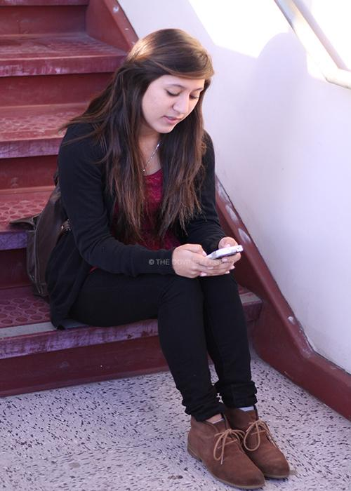 During her free time, Natalie Campas, 11, enjoys playing the popular app Four Pictures One Word.