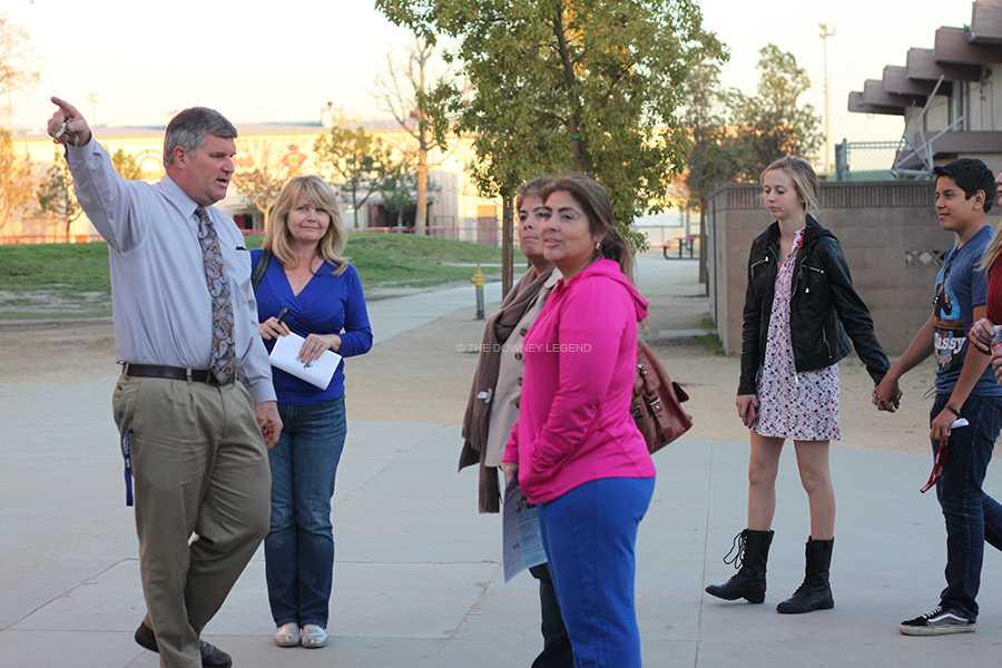On March 11 at the PTSA meeting, principal, Tom Houts conducted a tour of the Downey High School campus for parents and students who wanted to see the school. Among the tour stops was the bell tower.
