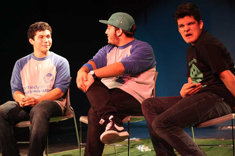 On March 29, Comedy Sportz members Bryce Caliwag, 12, Miguel Meza, 11, and Marco Arroyo, 11, sit together in the theatre to play the game of Speed Date. The Blue Team beat the Red Team in this Relay for Life fundraising game.