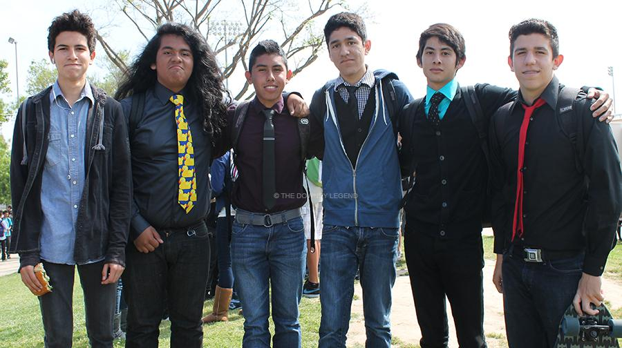 "On Friday, April 12, Jarrid Reyes, 11, Ricardo Perez, 11, Luis Rojas, 11, David Sanchez, 11, Eric Escarciga, 11, and Juan Nuñez, 11, show off their ""Not So Casual Friday"" trend at their hangout spot after the spring rally.  The ""Not So Casual Friday"" boys have continued their trend every Friday for nearly 4 months."