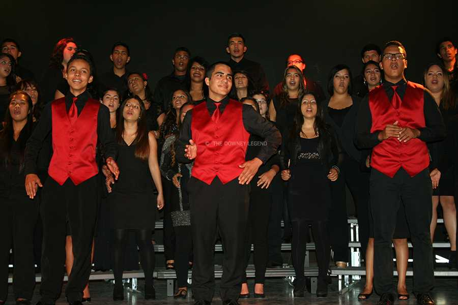 "On Wednesday, May 22, Crescendo vocalists Rudy Amaya, 10, Justin Ortiz, 12, and Frank Macias, 11, perform solos in ""Home"", arranged by Greg Gilpin with The Viking Singers, in the Downey High theatre during the 2013 Spring Concert.  The three Crescendo vocalists ended the night with the Crescendo Choir singing ""Peze Kafé""."