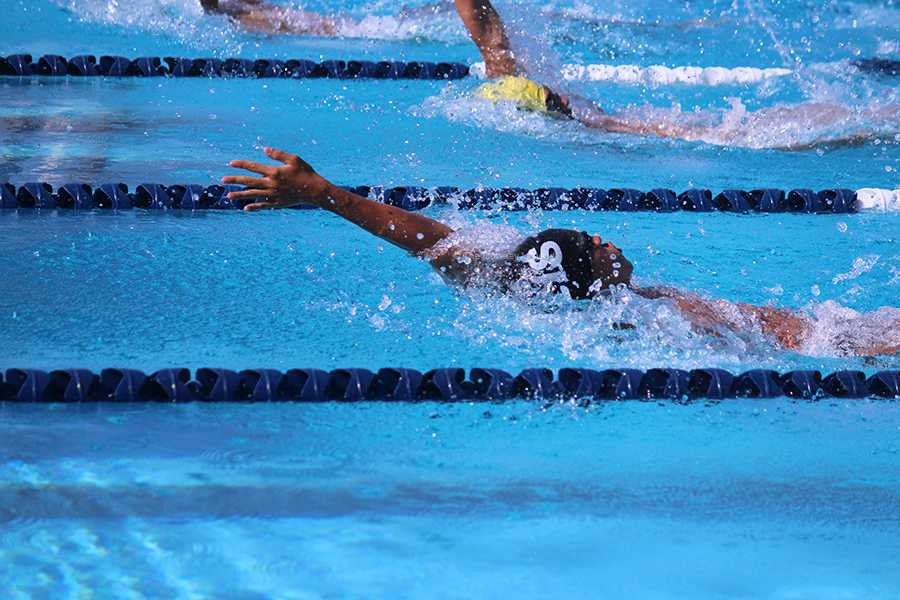 In the 100-yard backstroke, sophomore Michael Kim breaks a league record with a time of 1:04, at the San Gabriel Valley League finals, on April 25, at the Cerritos College Aquatics Center. The boys swim team won the league title, defeating Paramount High School for the first time in five years.