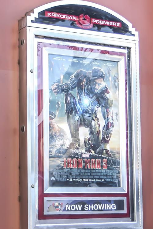 In the Krikorian Theater, Robert Downey Jr.'s Iron Man 3 premieres on May 3 for Marvel Comic fans. The award-winning sequel made $1 billion on opening night and has managed to remain the top movie two weeks after its release.