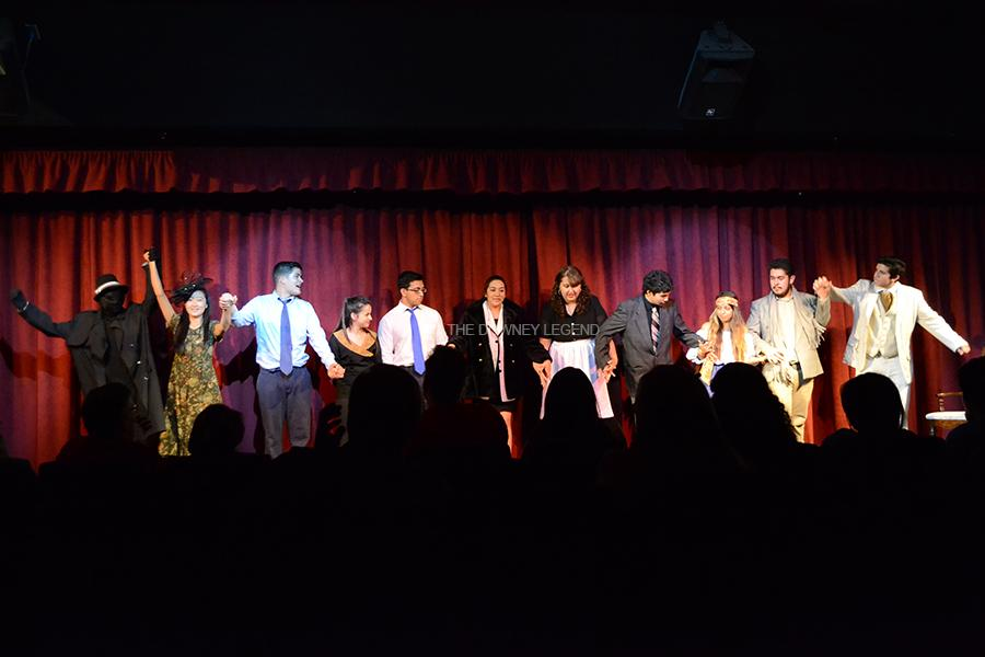 At the end of the play, the cast of the drama production The Musical Comedy Horror of 1940 bow as they receive an applause from the audience at the Downey High Theater on June 8. Throughout the play, the audience laughed and applauded the performance put on by the production class.