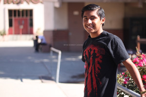 As a fan of the zombie horror television series, The Walking Dead, Kevin Perez, 12, wears a shirt based on the show to display his appreciation for the program. The Walking Dead, which airs on AMC,  returned on Sunday, October 13. with a record 16 million viewers who tuned in to watch the fourth season premiere.