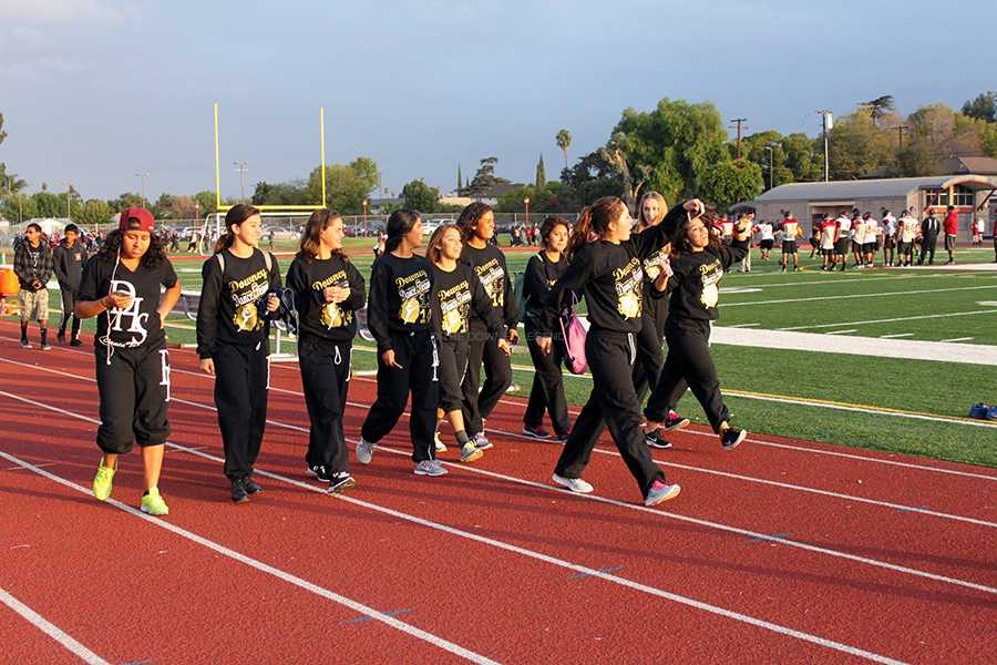 "On Wednesday, Oct. 9, the dance team gathers on the field to support DUSD in raising awareness to make pedestrian safety a priority. ""Personally, I did it because I'm grateful I can walk,"" sophomore, Justine Muro said. ""It's something important, and many people ignore it."""