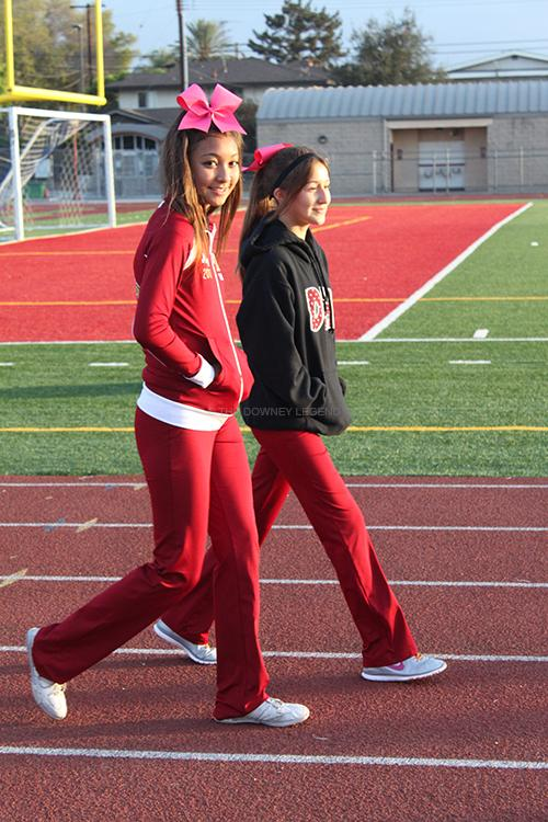 """On Wednesday, Oct. 9, Shayla de Guzman, 11, and Lizette Chavez, 9, arrive to school at seven in the morning to walk on the field for forty minutes to partake in International Walk to School Day. """"It was a good way to start the day,"""" De Guzman said."""