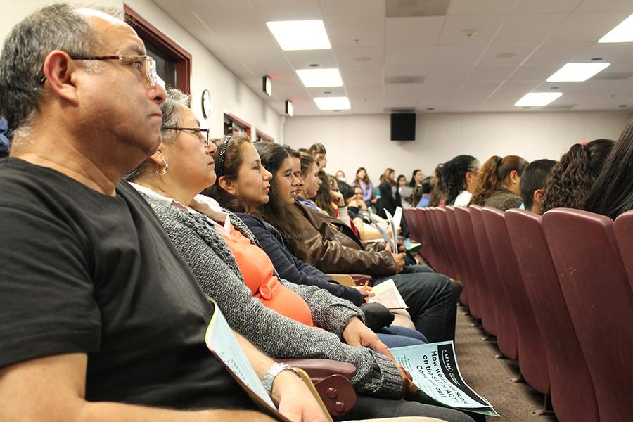 Sophomores, juniors, and parents attend an informative meeting, on Jan. 8, at the Downey High School theater, in order to understand PSAT scores. The purpose of the meeting was to inform parents and students how to improve their SAT scores.