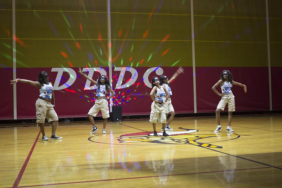 On Fri., Mar. 21, in the DHS gym, Supa Threat performs a routine at the annual Downey's Best Dance Crew, a competition hosted annually by the dance team. Supa Threat placed third place at the end of the competition.