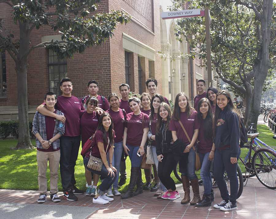 "During a field trip to USC on Mon., Mar. 24, S.W.A.P students admire one of the USC's streets due to the similarity of its name to the city of Downey. ""It was so funny to see Downey as a street name in USC,"" junior Jessica Angell, said. ""We just had to take a picture with it."""