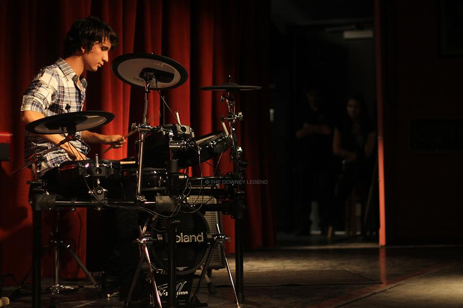 """On Tues., Apr. 29, the Downey High School music program presents their DHS Percussion & Chamber Music Showcase. Erick Velasquez, senior, performed his original composition  """"MoonFlower"""" on his Electric Drum Set."""