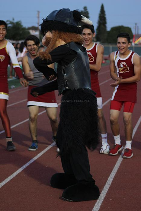 On Thurs., May 2, junior Jeremy Moore, entertains the crowd, at the powderpuff game, in the Allen Layne stadium, as the mascot. At the end of the game, the senior girls were back-to-back champions, winning the game with a score of 36-28.