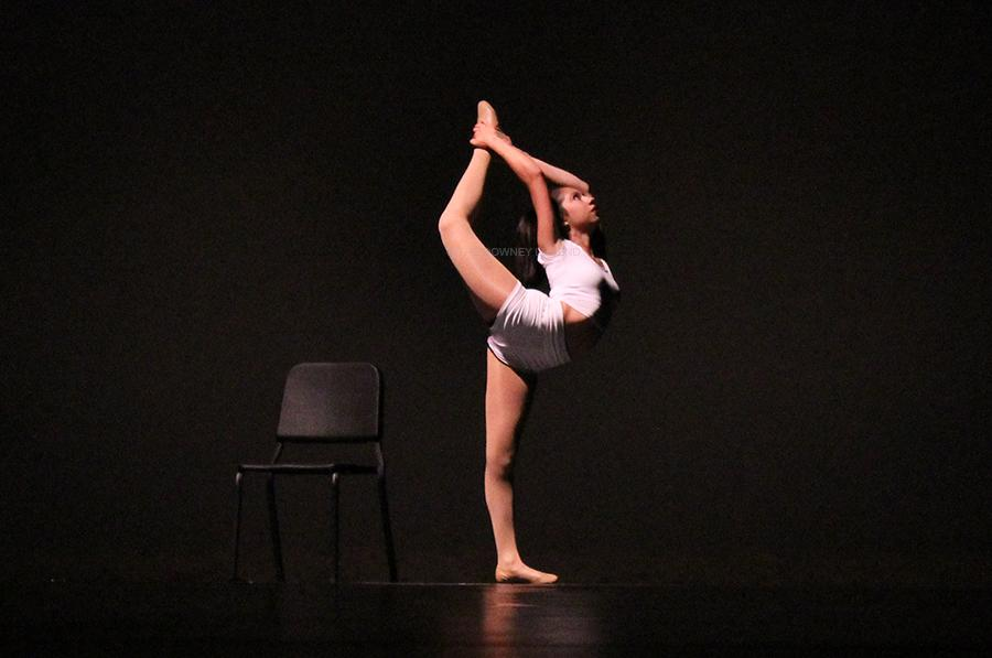 """On Wed., May 7, senior Brianna Leon performs at the Dance Review at the Downey Civic Theater. Leon performed her choreographed dance """"Feeling Good""""."""