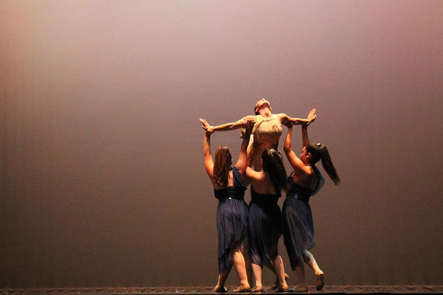 """On Wed., May 7, the DHS Dance Team and CTE Dance present their routines for the 2014 Dance Review at the Downey Civic Theater. Some girls from the DHS Dance Team performed """"Major Lazar""""."""