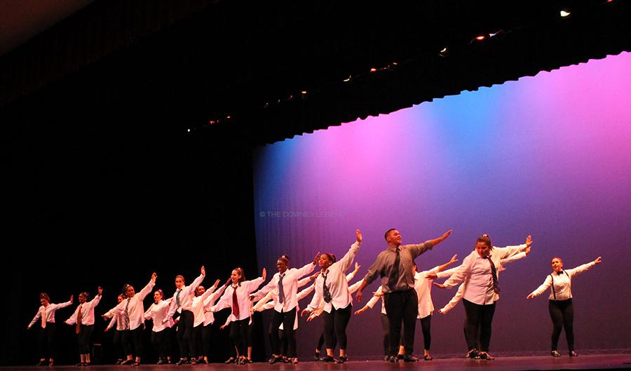 """On Wed., May 7 at the Downey Civic Theater,  the DHS Dance Team and CTE Dance preform at the 2014 Dance Review .  The CTE Dance 2 performed """"Happy"""" choreographed by Mrs. Macomber."""