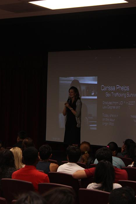 """Stop the Traffick Club presents a film, in the Downey High School theater on Thursday, Oct. 23, where Ms. James speaks about the world wide crisis of human trafficking in the U.S. """"What these men are doing to the young girls needs to be stopped immediately,"""" James stated. """"They choose the most vulnerable ones or the run-aways and they need to be stopped."""""""