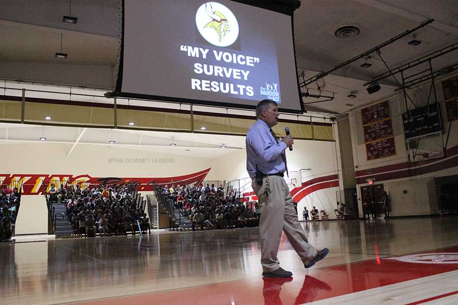 In the Downey High School gym, on Oct. 28, principal and fearless leader, Mr. Houts, talks to the seniors about the results of My Voice survey. Later, the senior class was shown a video on the history of Downey and its legacy.