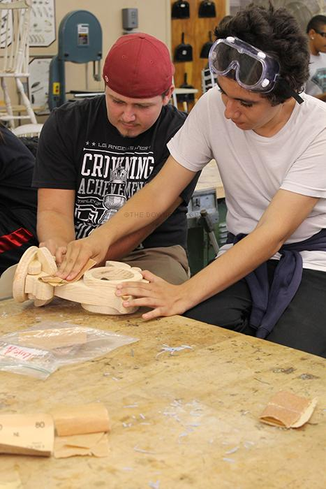 Senior Michael Mendoza was specially picked to work in wood shop with the amigos club to help in the special day class.