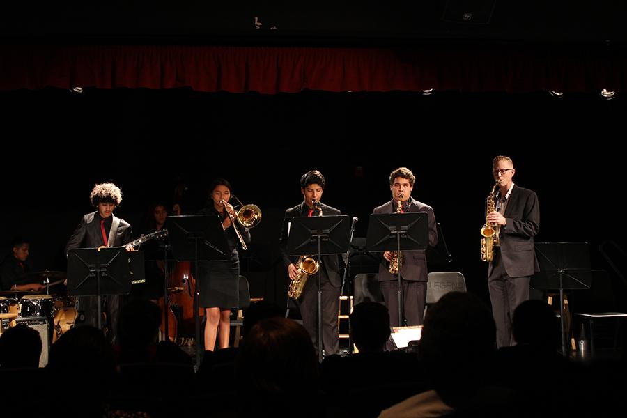 The Downey High School jazz concert featured the combo band, that peformed in the Downey High School theater on Oct. 29. The combo band had six students and the instructor, Erick.