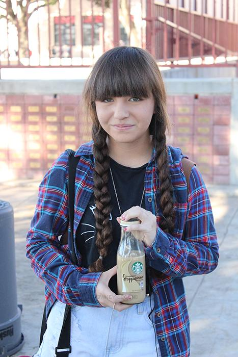 Downey+High+School+student+Jennifer+Ruiz%2C+10%2C+walks+around+campus+while+holding+a+Starbucks+Frappuccino+cup+on+Dec.+9+as+a+part+of+her+morning+routine.+%E2%80%9CI+prefer+Starbucks+than+Coffee+Bean+because+it+has+stronger+coffee%2C%E2%80%9D+Ruiz+stated.+%E2%80%9CI+get+coffee+three+times+a+week.%E2%80%9D