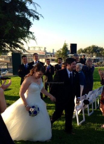 """On Sat., Jan. 17, at the Redondo Beach Historic Library, Ms. Stratford weds her fiancé Rick Crespo. """"Lots of work goes into a wedding, but it's all worth it once the day came,"""" Stratford said. """"My bridesmaids were long time friends so they helped me through the stress."""""""