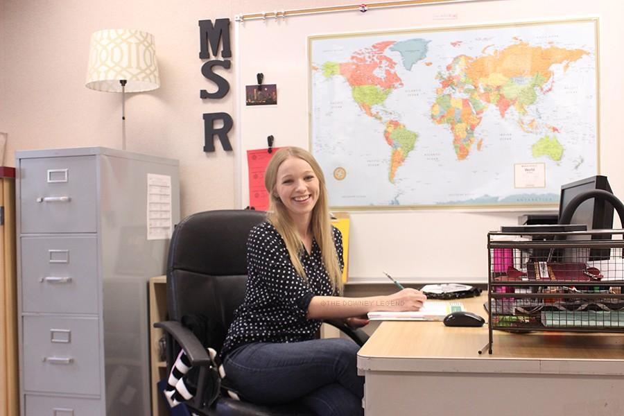 """In B-111, at Downey High School, history teacher, Ms. Rauls, accomplishes what she has wanted since she was young: becoming a fully credentialed teacher. """"I have been able to see the view of my education through the eyes of my teachers,"""" Rauls stated."""