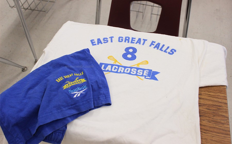 """On Feb. 25, Mr. Witkin shows his lacrosse gear, worn as an extra in the movie American Pie, in room S-6. """"Getting to work with producer Chris Moore, most known for Goodwill Hunting, on a lacrosse scene in a major movie, was very cool,"""" Mr. Witkin said."""