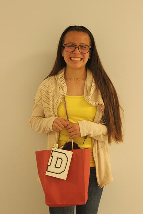 """From Sussman Middle School, Roxanne Victoria, 8, visits Downey High School on Mar. 10, to get a better experience of the campus she will be attending next year. """"I was chosen to play a trivia game with three other people, and I won a prize,"""" Victoria said."""
