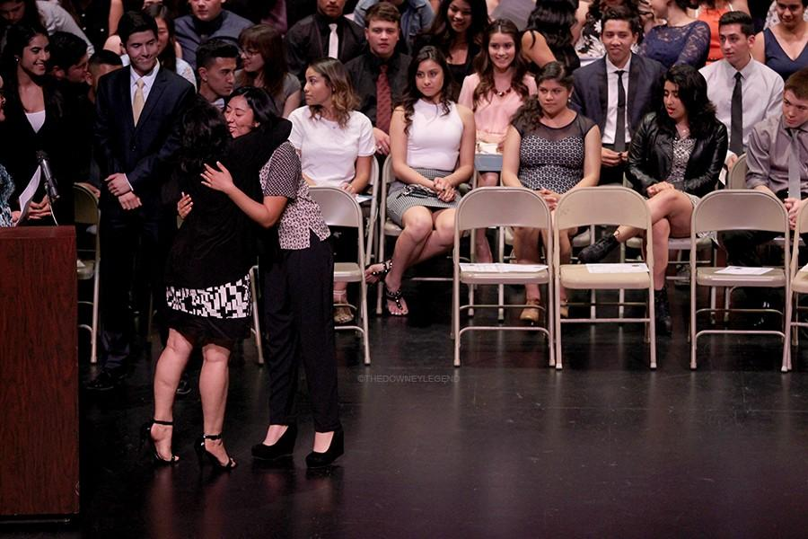 At Senior Awards night, on June 8, in the Downey Civic Theatre, senior Carmen Rodriguez is awarded with more than five scholarships. Every time Rodriguez's name was called to receive her award, the clapping from the audience grew louder.