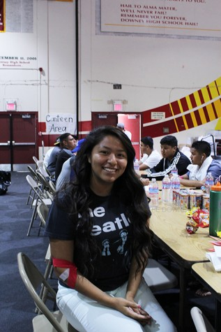 "On June 5, Jennifer Gavriiloglou, 11, donates blood to the Red Cross in the Downey High School gym, because she wants to save lives. ""This is my first time donating and it was a great experience,"" Gavriiloglou stated."