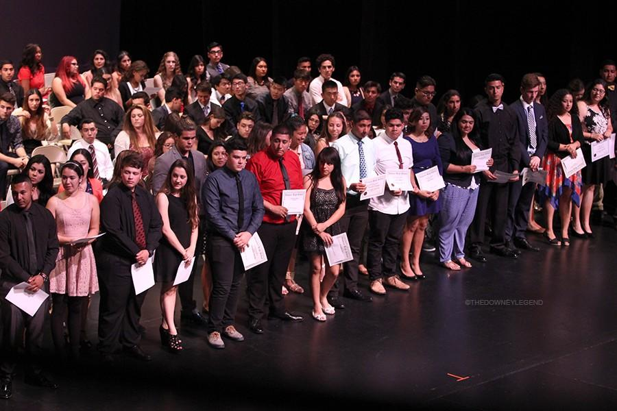 """In the Downey Civic Theatre on June 8, forty-eight Downey High School Seniors get awarded with the Stauffer Scholarship at Senior Awards night. """"I was excited to have been selected as one of the recipients of the Stauffer scholarship,"""" senior Marilyn Garcia said. """"I am so glad that such an amazing person like Dr. Stauffer exists to help students pay for their college tuition."""