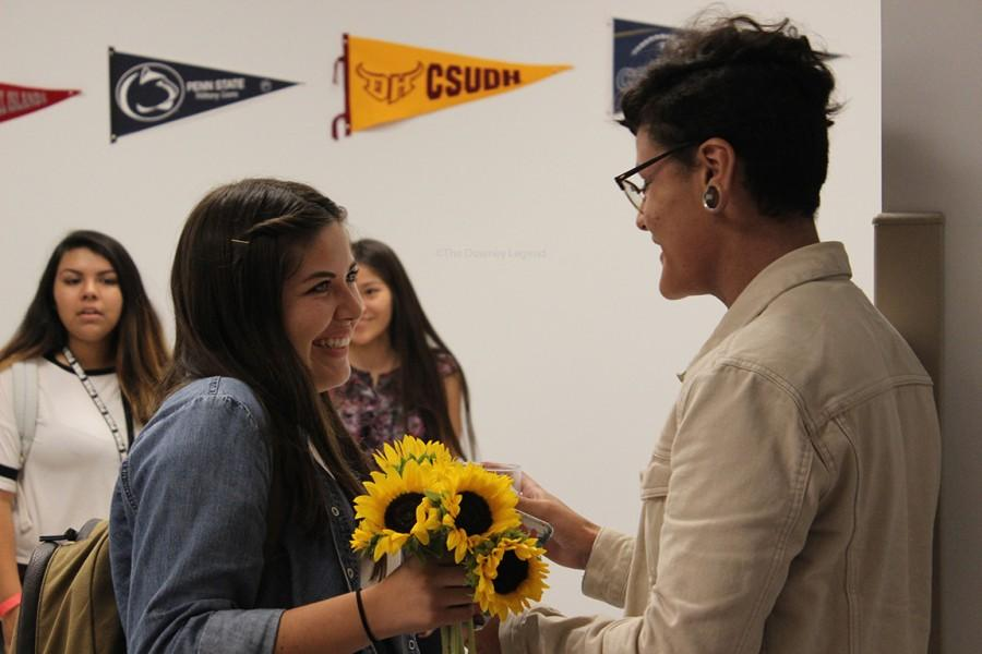 """Before the bell rang during 6 period on Oct. 2, senior, Jarred Aldaco, asks senior, Julissa Villalobos, to the homecoming dance. """"Very rushed, I got to school early thinking this wasn't going to work out,"""" Aldaco said, """"I had to get there before she got there so it was pretty intense."""""""