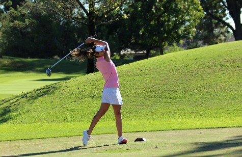 In the match against Warren, freshman, Allison Letender tees off, on September 29, at the Rio Hondo Golf Course. Letender became interested in golf at a young age after playing with her father.