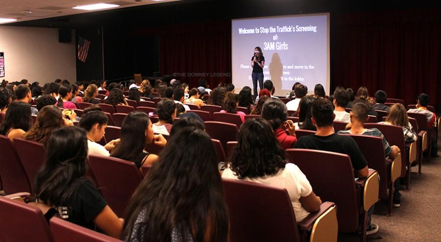 """Before the screening in the theatre Ms. James, the club adviser, had a few words with the audience about the importance of being aware. """"I was pleased with the number of students that showed up,"""" Ms. James said. """"The whole board from last year's event came."""""""